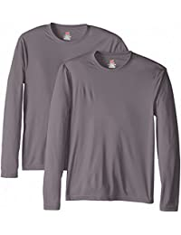 Hanes Lot de 2 T-shirts à manches longues Cool Dri UPF50+ pour homme