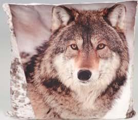 Polyester doux en velours pour coussin Motif empreinte de loup en peluche et tissu velours avec housse zippée, 45 x 45 cm