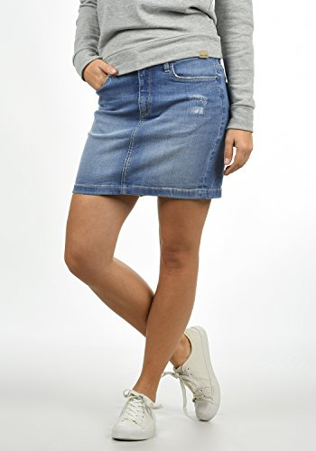 Blend She Adria Damen Kurzer Rock Jeansrock Minirock mit Destroyed-Look aus Stretch-Material
