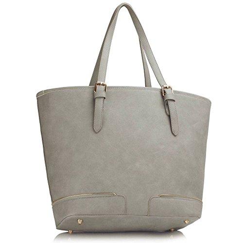 Meine Damen Umhängetaschen Frauen Große Designer Handtaschentoteschulterkunstleder Modische Taschen Promi Stil Kunstleder (D - Dark Nude) A - Grau