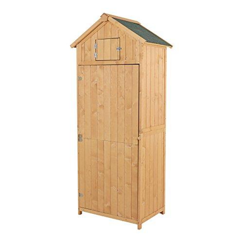 Outsunny armadietto da giardino esterno porta attrezzi utensili in legno con 3 mensole tetto impermeabile 77 × 54.2 × 179cm legno naturale
