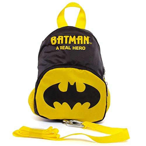 Kinderrucksack mit abnehmbaren Sicherheitsband im Batman Design • Kindergartentasche Kinder Sicherheitsgurt Rucksack Tasche