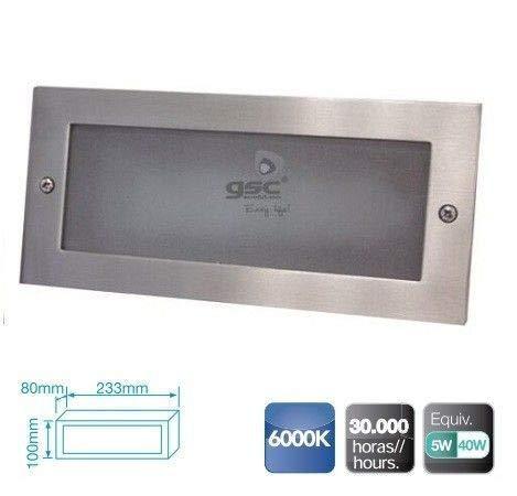 GSC Evolution Aplique Rectangular Aluminio empotrable Pared LED5W 6000K-Caja de empotrar incluida,...