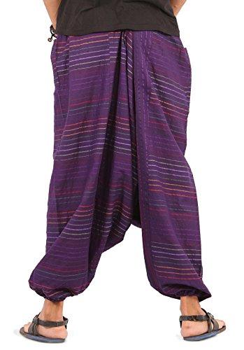 The Harem Studio Haremshose Herren Damen Aladinhose alternative Kleidung Pumphose Shalwar Hose Aladinhose Goa Hose - Streifen Stil Lila