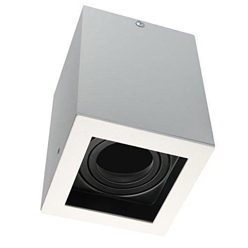 LED Aufbaustrahler Aufbauleuchte / Aufputz Deckenleuchte / schwenkbar / Quad Weiß / GU10-230V WF14 (Ohne Leuchtmittel)