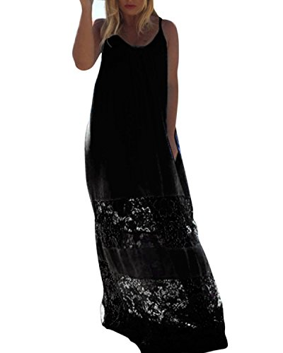 ZANZEA Sexy Femme Robe Sans Manches Lace Crochet Dentelle Boho Plage Maxi Longue Noir EU 52/ US 22W UK 24
