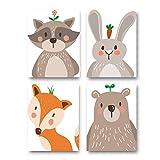 4er Set Kinderzimmer Babyzimmer Poster Bilder Din A4 | Mädchen Junge Deko | Dekoration Kinderzimmer | Waldtiere Safari Skandinavisch(Bär,Kaninchen,Fuchs) Weißer Boden