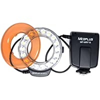 Mcoplus® MRF18 FC-110 brillo LED Macro Ring Flash luz Color Temperature(3200K/5500K) Flash Ringlight para Canon, Nikon, Pentax, Olympus cámara réflex digital con 7 adaptadores diferentes lentes