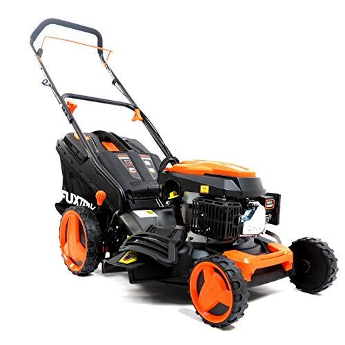 FUXTEC Benzin Rasenmäher FX-RM4646, Nachfolger vom vielfach prämierten RM1850,Motor mit Easy Clean 4in1 Motormäher mit Selbstantrieb und Mulchfunktion Schnittbreite 46cm - 50L Grasfangkorb