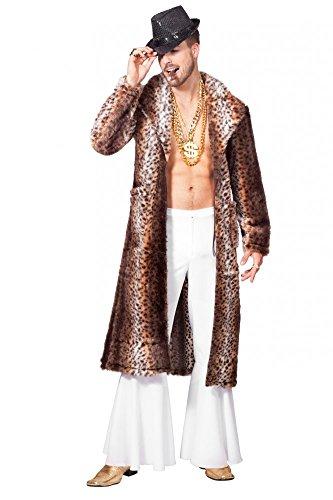 shoperama Kunstfell-Mantel Leopard Herren Fell Pimp Stenz Lude Zuhälter Assi Proll Pelzmantel, Größe:64 (Pimp Mantel Kostüm)