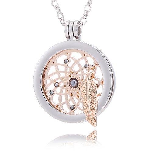 Morella mujeres collar 70 cm acero inoxidable y colgante amuleto Coin 33 mm átrapasueño de color rosa oro 33 mm para damas, en bolsa para joyas