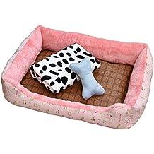TianBin Cómodo Casa para Mascotas, Cama para Perros y Gatos Cesta Rectangular con Manta &