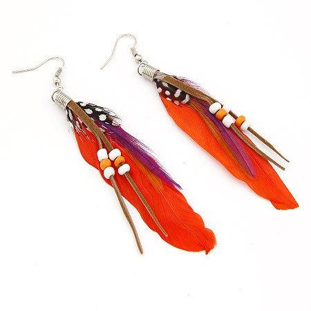 Aretes de pendiente - TOOGOO(R)1par de Aretes de pendiente de cuentas de plumas de India de estilo de Bohemia exotico de moda (Naranja)
