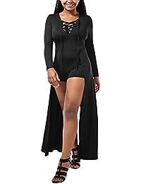 Vestiti Donna Eleganti Lunghi Abiti da Cerimonia Manica Lunga V Scollo Puro  Colore dalla Fasciatura Moda 3d0fc36f67d