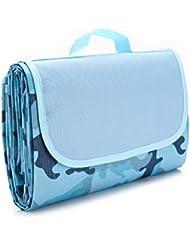ULTNICE Alfombra de Picnic Manta Impermeable Exterior Con Bolsa - Azul Camuflaje