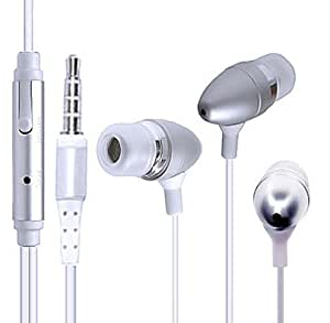 Wayzon Silver Noise Isolating Sensational Sound In Ear Stereo Hands-Free Headset Headphone Earphone With Microphone Mic Suitable For Apple iPhone 4S
