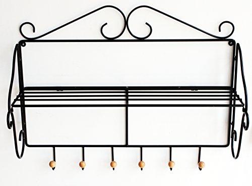Taquilla A480369 Sofoc-Perchero de pared para entrada rústico con tablet y 6 ganchos hierro forjado y madera, color negro/marrón claro 26,5 x 75 x 59