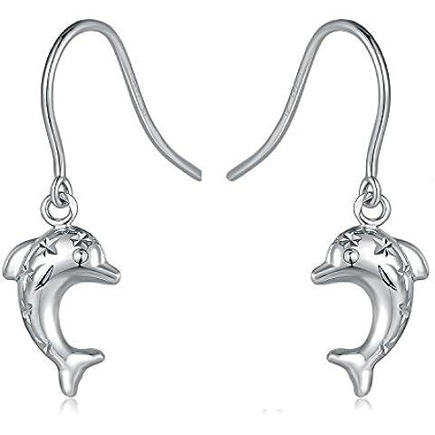 Oro bianco italiano 9 k, taglio diamantato, con ciondolo a forma di delfino, Orecchini a gancio con stelle, idea regalo per donne delle ragazze dei bambini