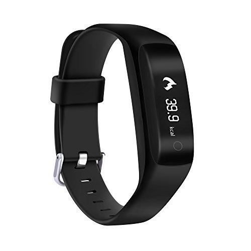 YUNTAB Smart bracelet Connecté CPU Nordic52832 Smartband Sport fitness Podomètre Sommeil Rythme fréquence Cardiaque Message ou Appel pour Smartphone Android et Apple iOS iPhone bluetooth 4.2-noir