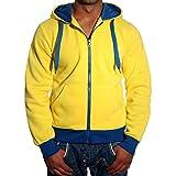 Herren Sweatshirt Sweatjacke Kapuzenjacke Hoodie mit Kapuze und Reißverschluss Langarmshirt Pullover V-204, Größe:S, Farbe:Gelb/Blau