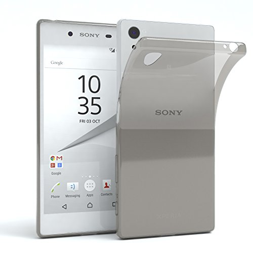 "EAZY CASE Handyhülle für Sony Xperia Z5 Hülle - Premium Handy Schutzhülle Slimcover ""Brushed"" Aluminium Design - TPU Silikon Backcover in brushed Rosa Clear Hellgrau"