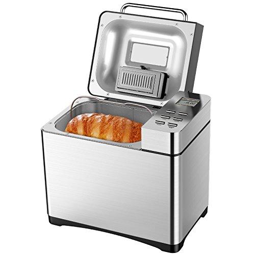 Brotbackautomat, Aicok 650W Backmeister Edelstahl mit 19 Programme, Automatische Zutatenbox, 500g-1000g Brotgewicht, Brotbackmaschine mit 15 Stunden Timing-Funktion, Sichtfenster, Silber