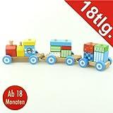 Holzeisenbahn 40cm 18tlg. bunt Holzspielzeug Bauklötze Holzzug