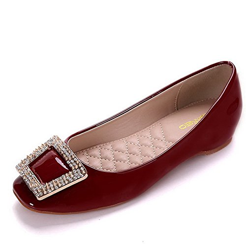 AalarDom Damen Weiches Material Ziehen Auf Quadratisch Zehe Niedriger Absatz Pumps Schuhe Weinrot-Inner Hohe Absatz