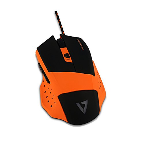 V7.GG GM110 Pro Gaming Maus (4000dpi, Multicolor LED, 6 Programmierbare Tasten) Orange -