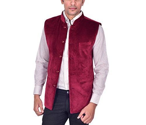Ellegent Exports Men's Velvet Quilted Designer Modi Nehru Jacket Maroon Special Eid...
