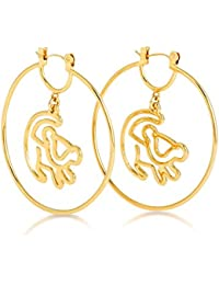 Disney Couture 14kt chapado en oro del rey León Simba esquema pendientes