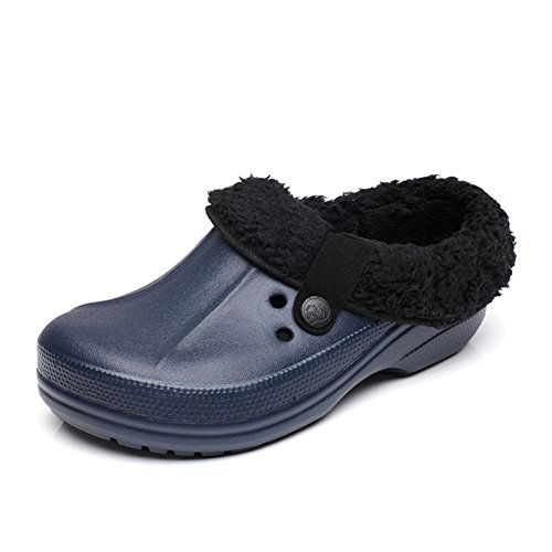 MSKAY SLIPPERS Winter Lined Unisex-Erwachsene Clogs Warme Hausschuh Sicherheitsschuhe,Dunkelblau (Leder-clogs Fell,)