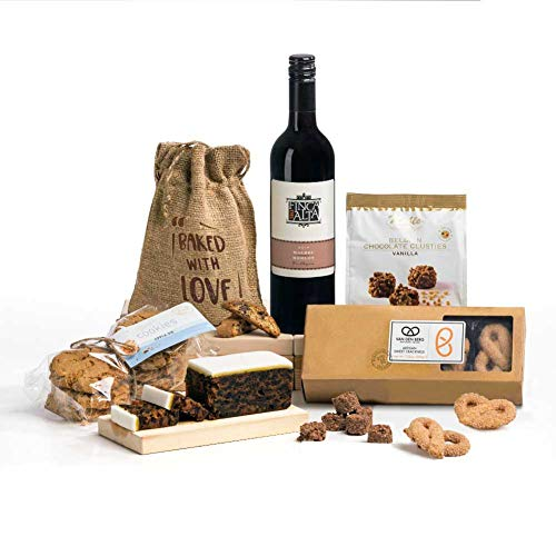 Hay Hampers Wine Not! Red Wine, Biscuits, Cake & Chocolate Hamper Box - FREE UK delivery