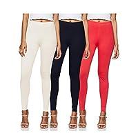 Longies Women's Leggings (Pack of 3) (LGLGSPO3005_White , Navy , Coral_M)