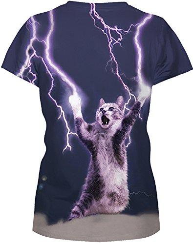 EmilyLe Donna Summer Galaxy Print T-Shirts Magliette Casual a Manica Corta Divertenti Lightning cat