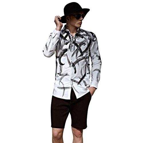 Kermit psyche uomo casuale camicie autunno inverno maniche lunghe bottone giù camicie kp-1005 (l(175/92a))