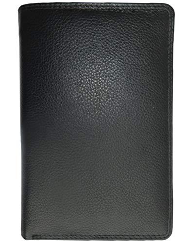 Josephine Osthoff Handtaschen-Manufaktur feine Leder Brieftasche - Schwarz - Doppelnaht, 11 Karten Reißverschlussfach Ausweise bis DIN A6 (Schwarz Leder 11)