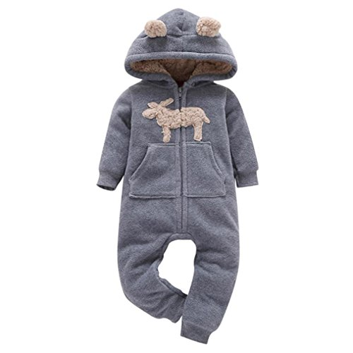 OVERDOSE Infant Baby Jungen Mädchen Winter Dicker Print Kapuze Strampler Fleece Overall Jumpsuit Mantel Outfit Kind Kleidung (3-6 Monate, - Drei Wünsche Weihnachten Kostüm