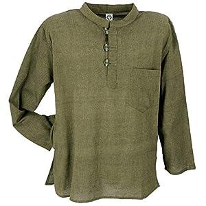 Guru-Shop Nepal Fischerhemd, Goa Hippie Hemd, Yogahemd, Freizeithemd, Herren, Baumwolle, Hemden Alternative Bekleidung