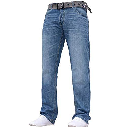 Crosshatch Mens Wak Neue Straignt Bein Jeans Mitte Stonewash W44- L30 -