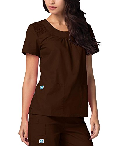 Adar Medical Women's Scoop Neck Smocked Solid Scrub Top -
