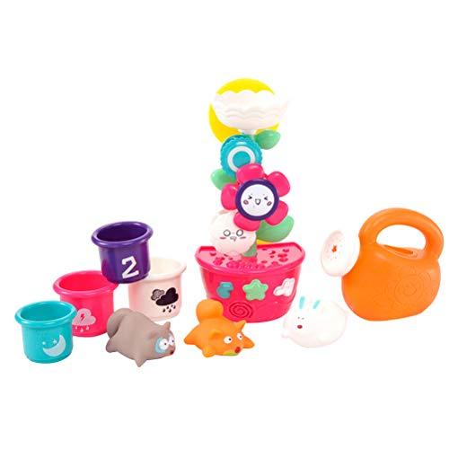 Toyvian Baby Badespielzeug Set Blume Wasserfall Stacking Cups Spielzeug Gießkanne Spielzeug Tier Bathtime Badewanne Spielzeug für Kinder Kleinkinder 9 Stücke