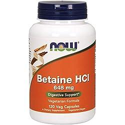 Foods | Betaína HCL | 648 mg | 120 cápsulas vegetales | sin gluten y soya