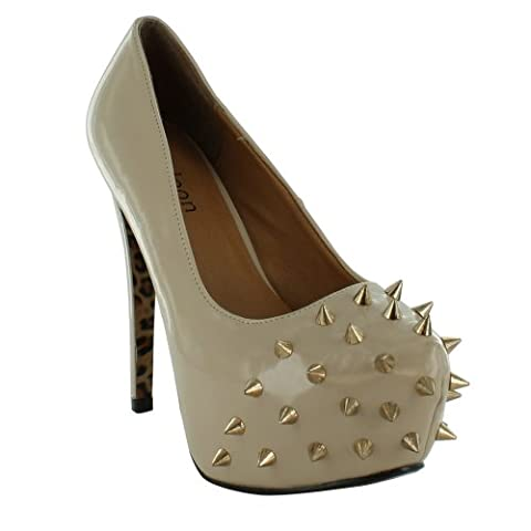New Ladies Stiletto High Heel Spike Studded Platform Sandals Size UK 3 4 5 6 7 8, Nude Patent UK Size