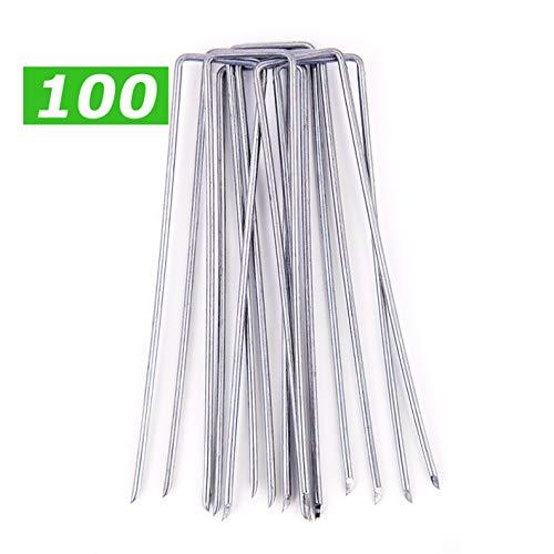 GardenPrime 100x U-förmige Erdanker feuerverzinkt Ø 2.8mm zur Sicherung von Unkrautvlies, Netzen, Bodenplanen, Maschendraht, Membranen, Polyethylenfolie (100 STK)