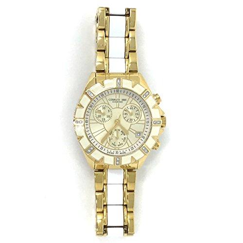 Cerruti 1881Diamond Lady cronógrafo reloj 36mm con Real de cerámica de diamantes de dos tonos blanco y oro, insertar, Swiss Made