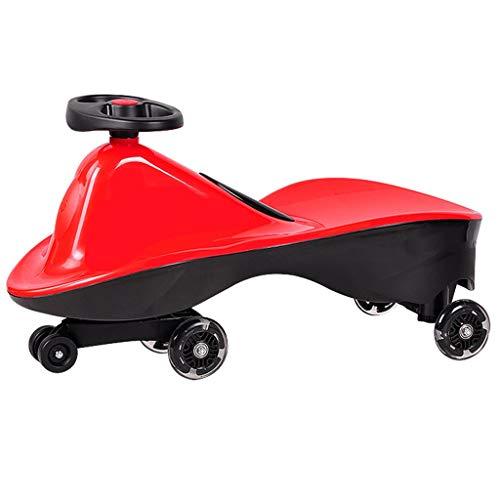 GXY Twist Car Kinder Yo Car Universal Rad Schaukel Auto 1-3 Jahre Alte Männer Und Frauen Baby Roller Flash Stumm Rad Doppel Können Sitzen Kinderwagen (Color : RED, Size : 69 * 29 * 37CM)