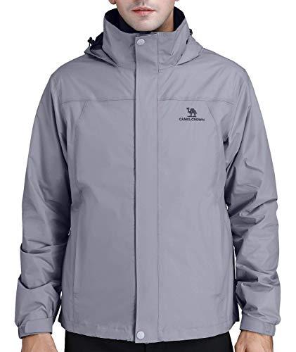 1685f670a7e88 CAMEL CROWN Chaqueta Impermeable Hombres con Capucha Transpirables Chaquetas  de Esquí Lluvia Nieve Abrigo al Aire