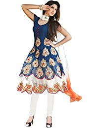 Florence Women's Georgette Anarkali Semi Stitched Dress Material(Blue_Free Size_SL028)