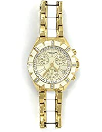 Cerruti 1881 Diamond Lady Chronograph Watch 36mm with Real Diamonds Two Tone Gold and White, Ceramic Insert, Swiss Made